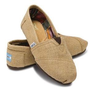 Toms Classic Tan Burlap Shoe